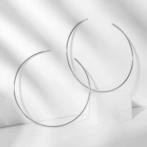 Slim Open Oversize Hoop Earrings 1pair, Silver