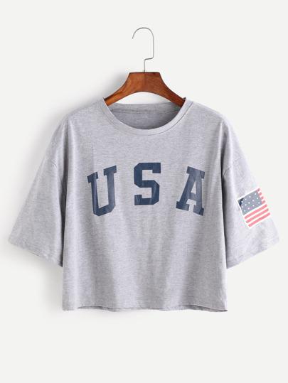 American Flag Letter Print Drop Shoulder Tee 11b4d6c8a42a