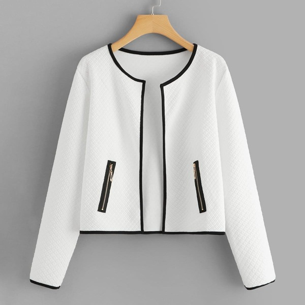Contrast Trim Zipper Detail Coat, White