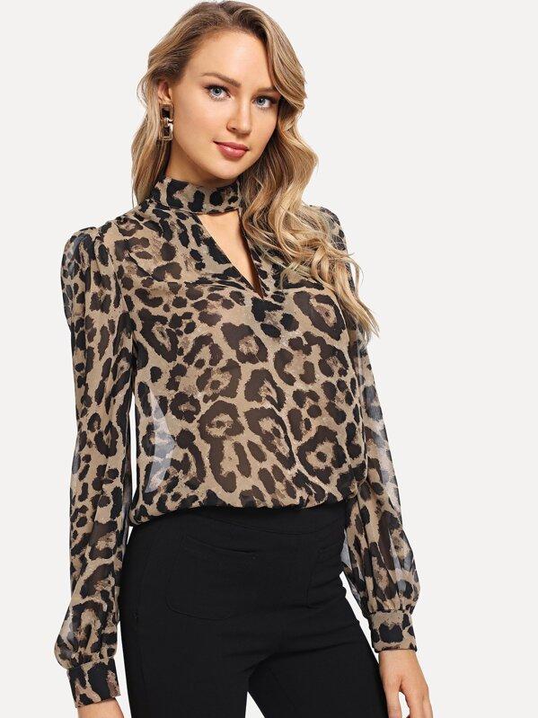 Choker Neck Leopard Top by Shein