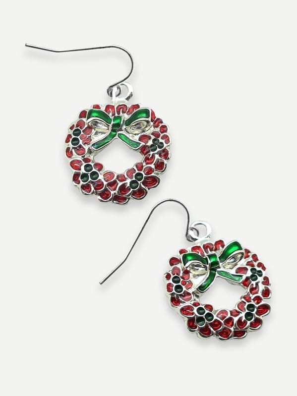 Christmas Wreath Drop Earrings 2pcs Shein Sheinside