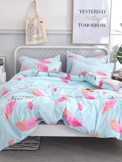Feather U0026 Letter Print Sheet Set
