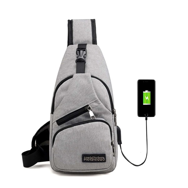 Men USB Charging Port Bum Bag, Grey