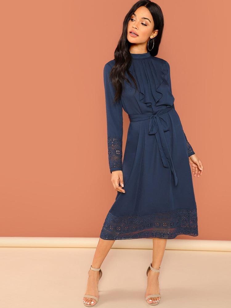 65a05ecdb0d Кружевой отделкой платье с длинным рукавом