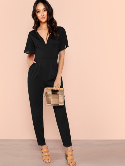 c88748a46f93 Slant Pocket Pleated Flutter Sleeve Jumpsuit