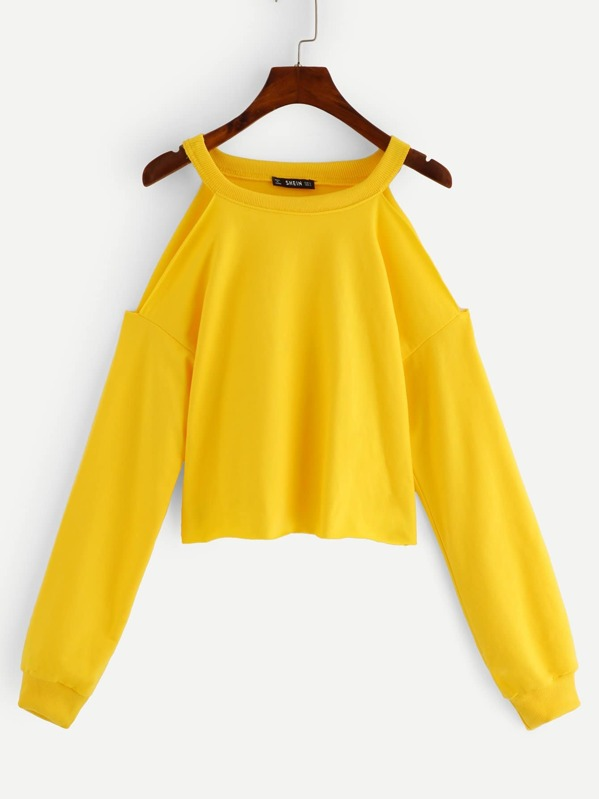 Open Shoulder Raw Hem Heathered Pullover, Yellow