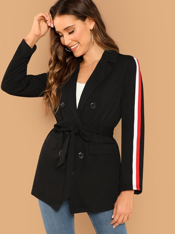 Striped Side Double Breasted Placket Belted Blazer, Black, Anna Herrin