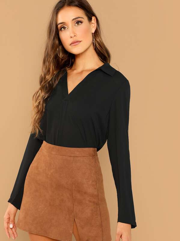 Roll Tab Sleeve V Neck Top by Shein