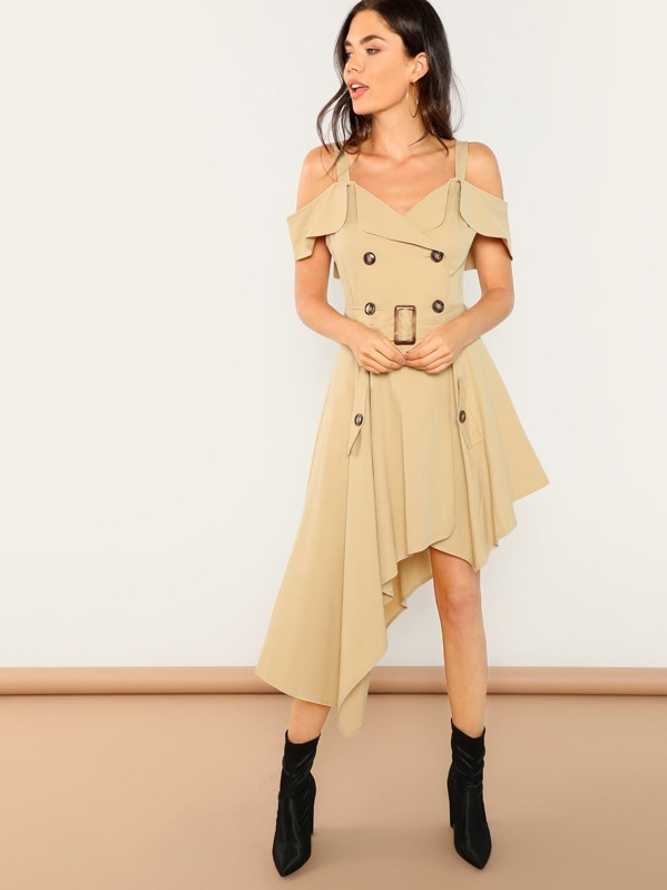 Cold Shoulder Asymmetric Trench Dress by Shein