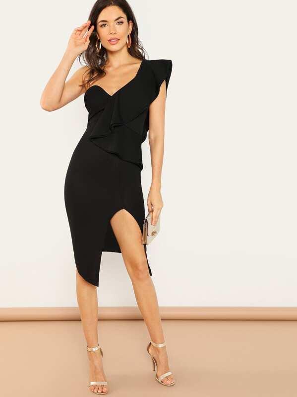 Ruffle Detail One Shoulder Split Dress by Shein