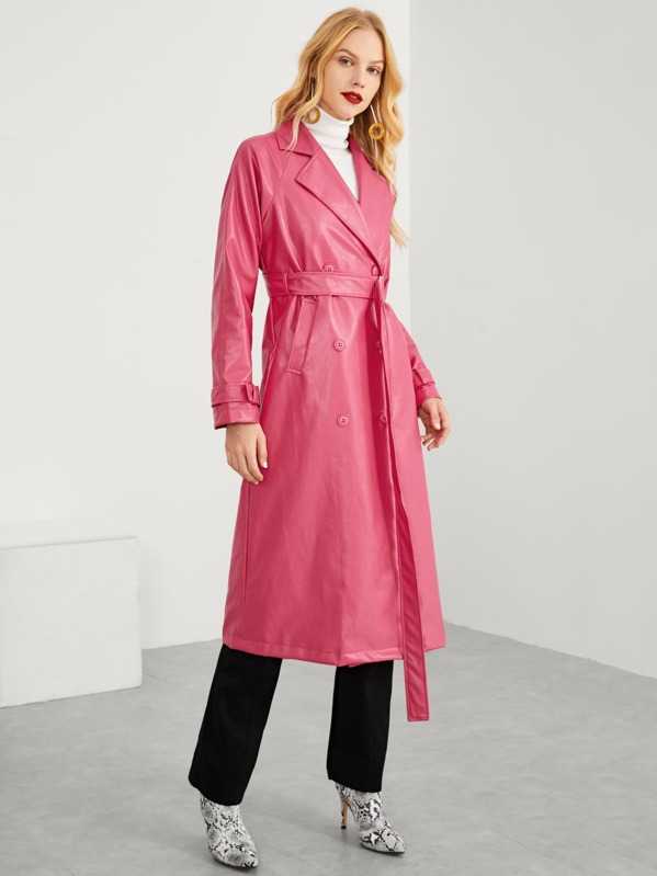 SHEIN Neon Pink Belted Faux Leather Trench Coat