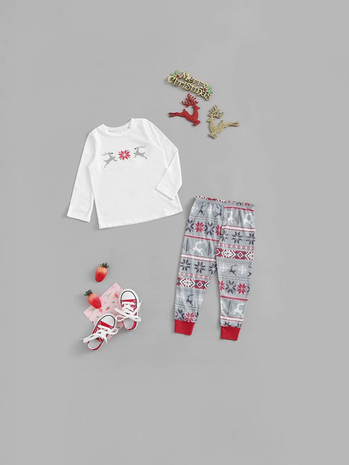 04556e0b17 Christmas Kids Deer   Snow Print Pajama Set -SheIn(Sheinside)