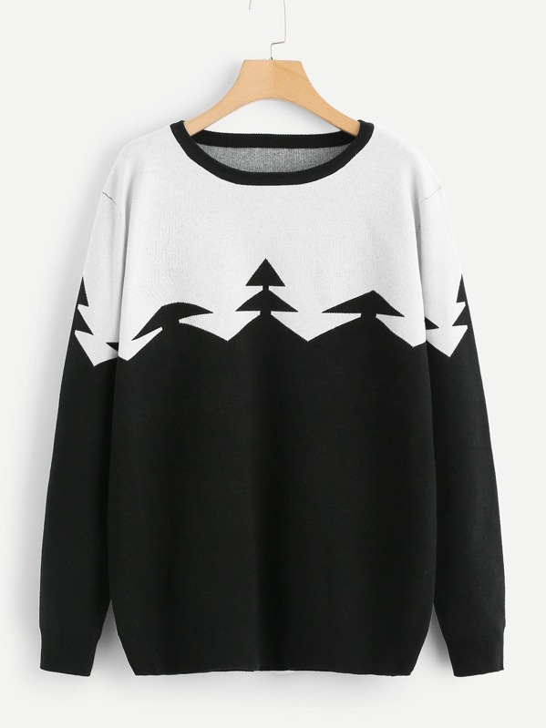 Two Tone Graphic Print Jumper, Black and white