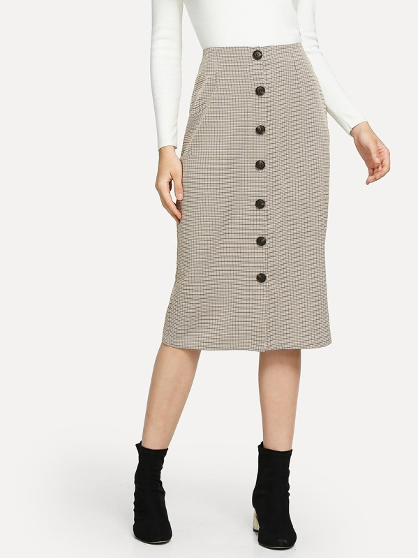 Button Decoration Plaid Skirt by Sheinside