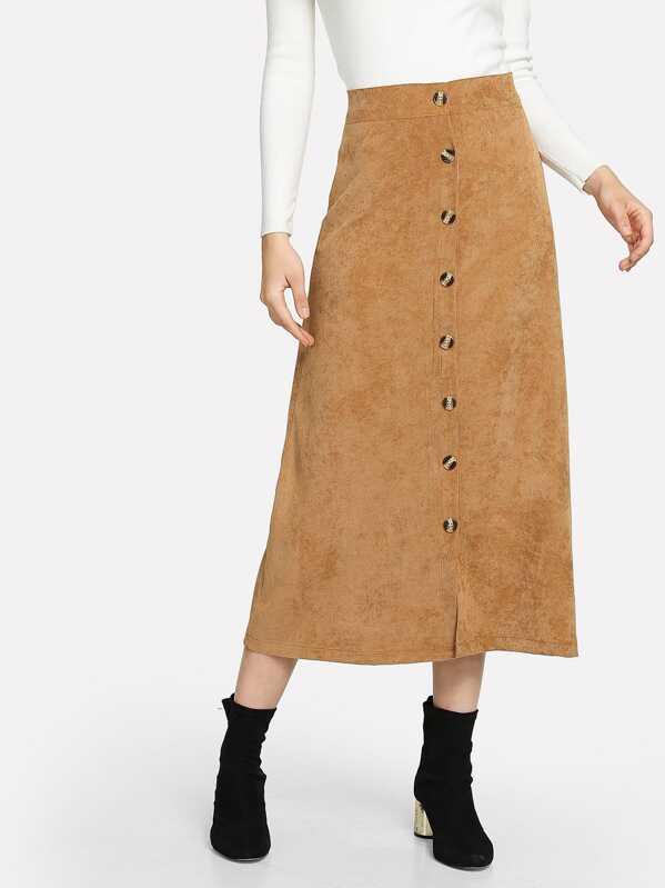 Corduroy Button Decoration Skirt by Sheinside