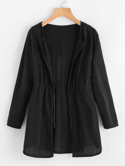 Drawstring Waist Hooded Cardigan 9a65f0eb1