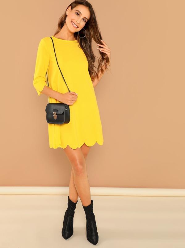 Scallop Edge Tunic Dress by Shein