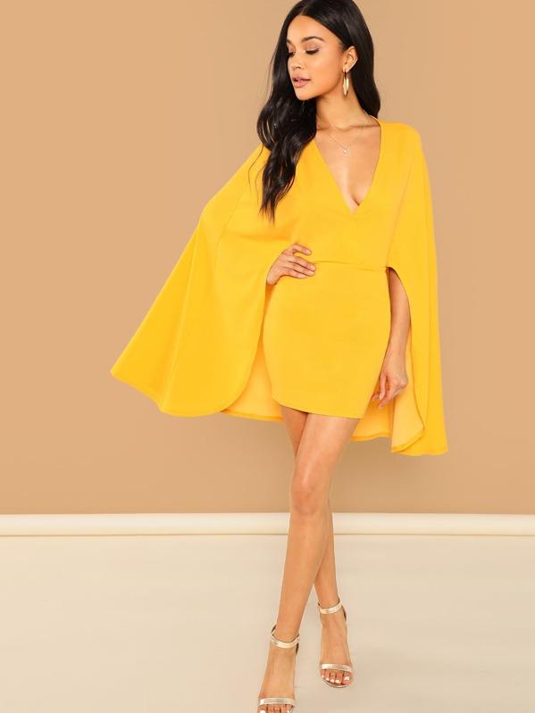 Surplice Neck Cape Sleeve Dress by Shein