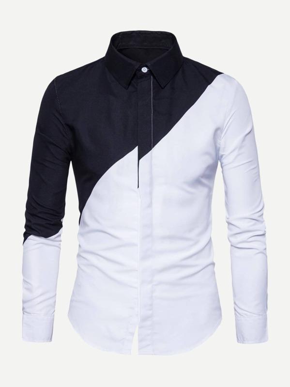 30b6c55d812d Men Single Breasted Colorblock Shirt -SheIn(Sheinside)