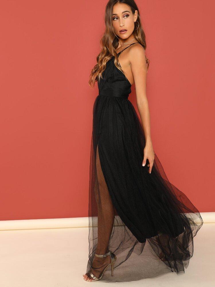 ea5996bf2c Plunging Neck Mesh-Overlay Maxi Dress