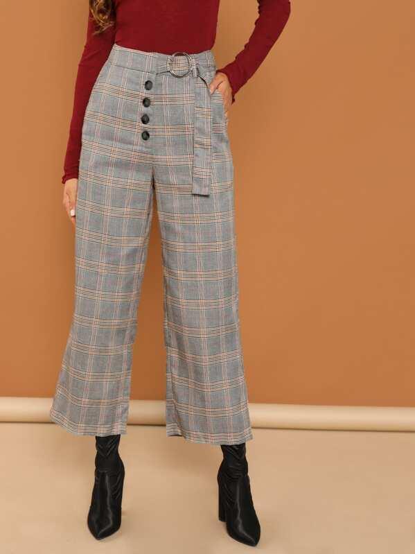 Pantalones de cuadros con bolsillo oblicuo  ecac1b50b05