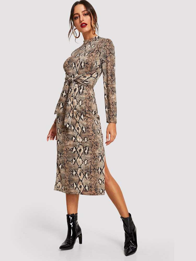 877bcdf6720 Knot Front Slit Side Snakeskin Dress