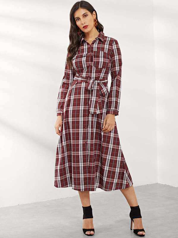 Gingham Belted Single Breasted Dress