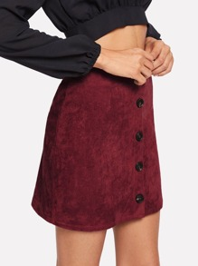 d4497aa22 Single Breasted Solid Suede Skirt -SheIn(Sheinside)