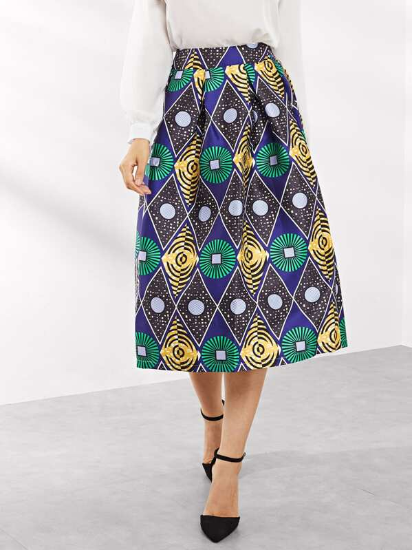 50s Graphic Print Skirt by Sheinside