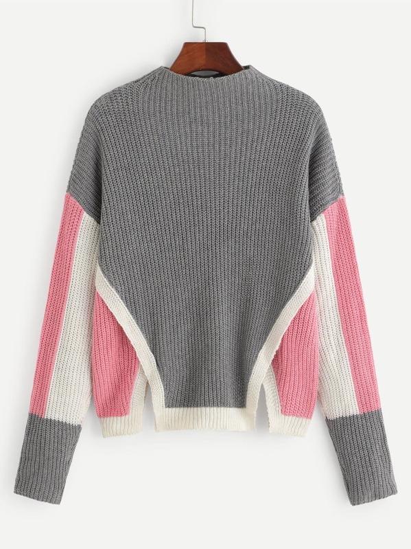 0fc89958924 Drop Shoulder Slit Hem Color-Block Sweater -SheIn(Sheinside)