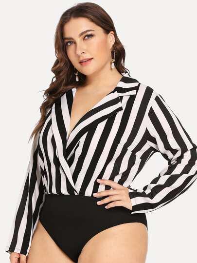 40ce18aae31 Plus Contrast Striped Bodysuit