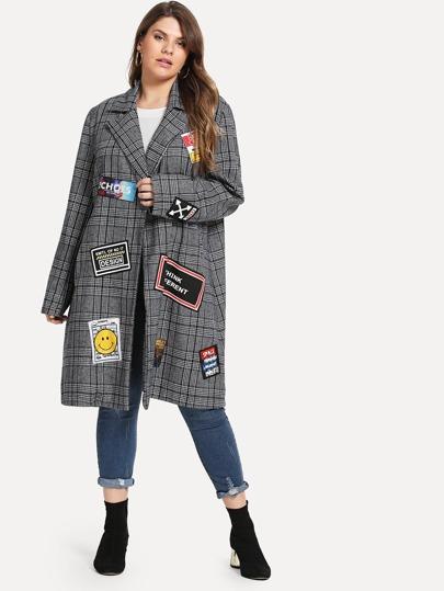 443c8c0f0e4 Plus Patched Decoration Plaid Coat