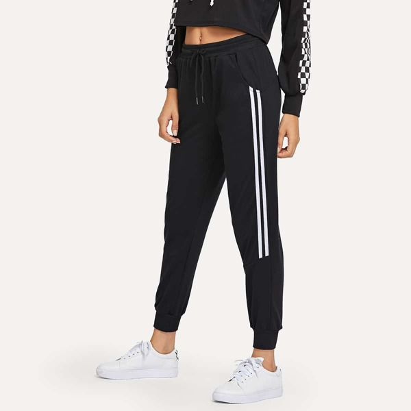 Drawstring Waist Contrast Trim Pants, Black