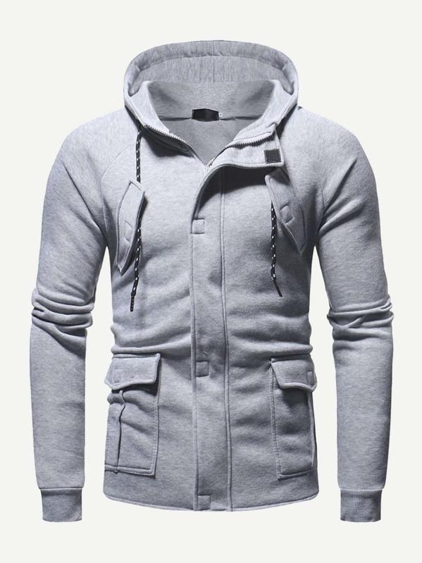 Men Drawstring Detail Zip Front Hoodie by Sheinside