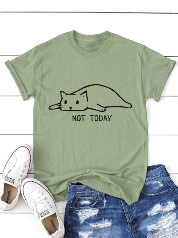 Cat And Letter Print Tee by Sheinside
