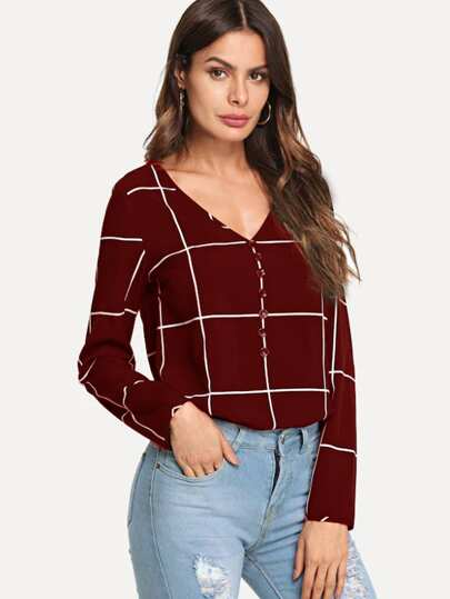 Button Front V-Neck Plaid Top 771538dd7c6b