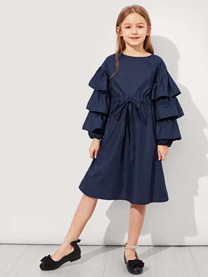 Girls Self Belted Layered Sleeve Dress