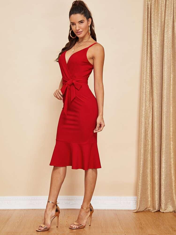 4a0892cfe89 Pep Hem Belted Surplice Cami Dress