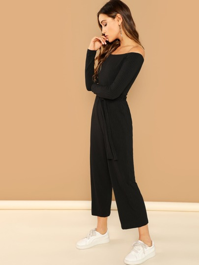 ff1f446ded8d Off Shoulder Tie Waist Wide Leg Jumpsuit