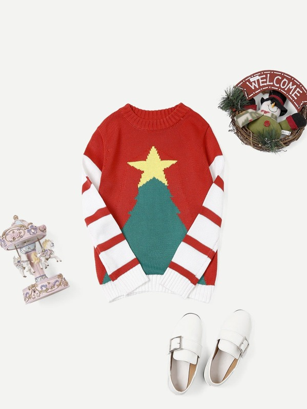 Girls Christmas Print Striped Sweater, Multicolor