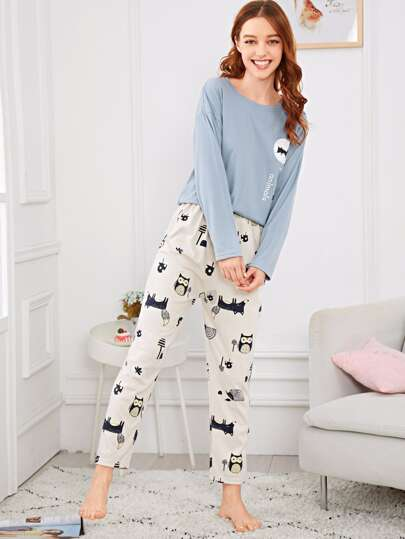 442fdb78a900 Cartoon   Letter Print Pajama Set