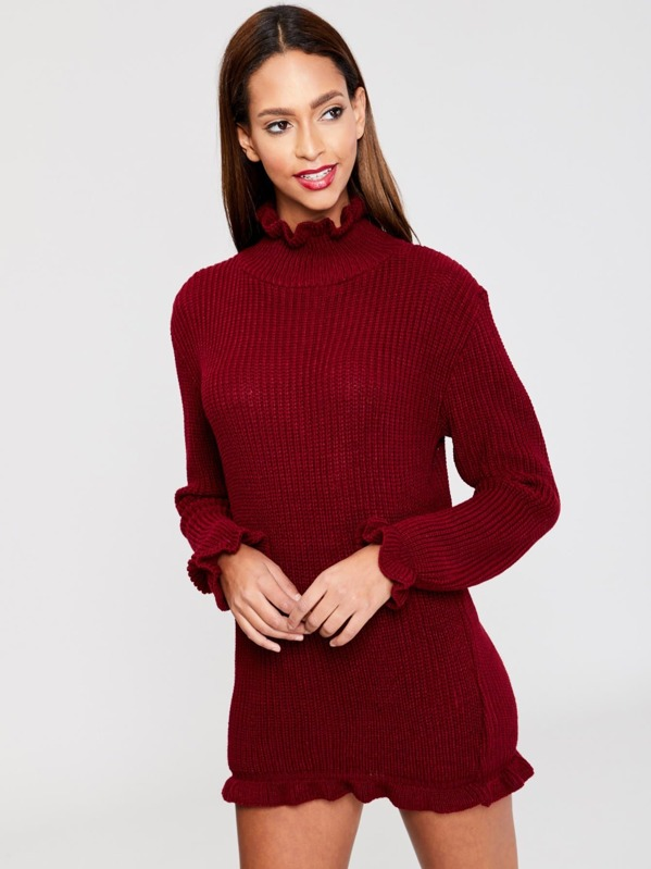 a5c899e0fe4 Frill Neck Jumper Dress