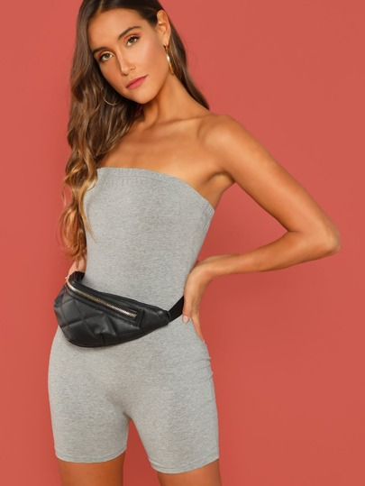 c28c03a8528 Slim Fitted Solid Tube Romper