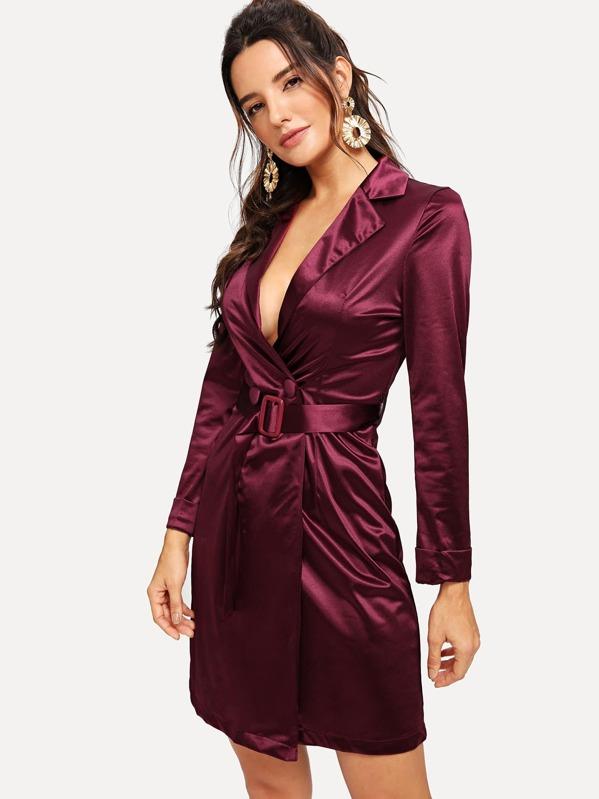 Deep V Neck Belted Satin Dress by Sheinside