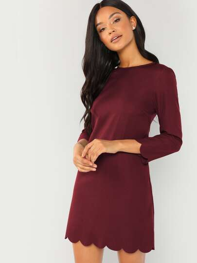 2169662b3ed4f Scallop Trim Tunic Dress