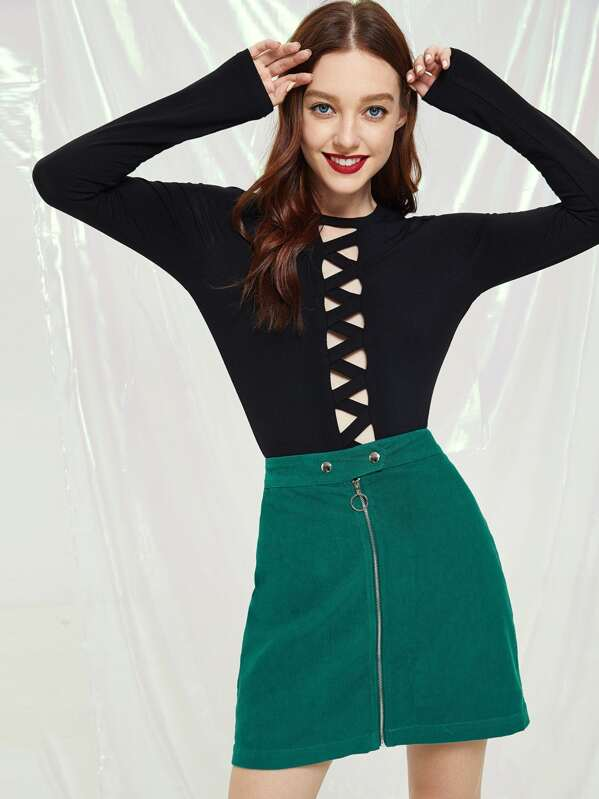 Exposed Zip Front Corduroy Skirt by Shein