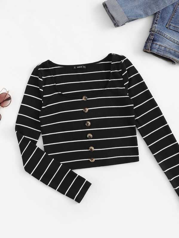 Button Front Ribbed Knit Striped Tee