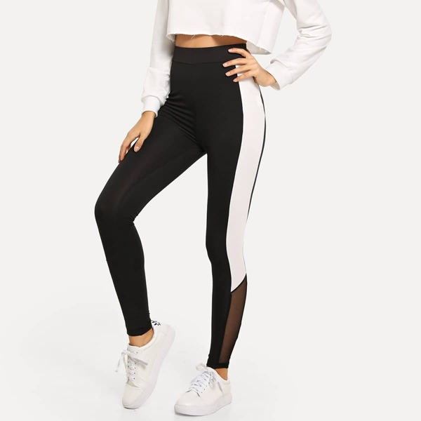 Wide Waistband Colorblock Leggings, Black