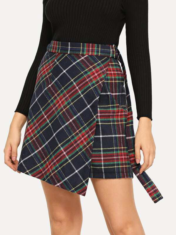 Belted Waist Plaid Wrap Skirt by Shein