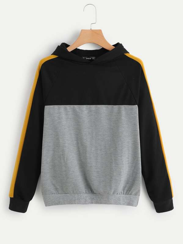 Color Block Raglan Sleeve Hoodie, Multicolor